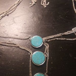 Layered silver and turquoise necklace